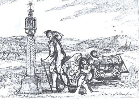 """Německy mluvící obyvatelé jeho rodného Velkého Ratmírova neušli poválečnému vyhnání, jak to připomíná kresba z publikace o """"odsunu"""" zNovobystřicka a Jindřichohradecka"""