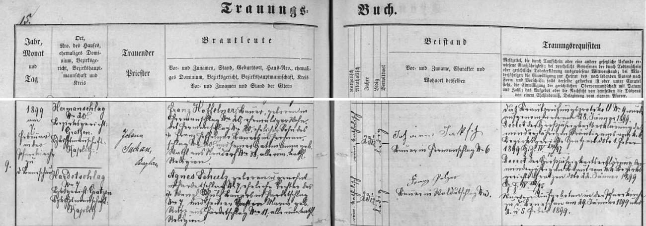 Jeho otec, rolník Franz Hoffelner, syn Franze Hoffelnera z Kuří čp. 20 a jeho ženy Anny, roz. Watzlové z Kondrače čp. 33, a matka Agnes, roz. Schulzová, dcera rolníka Wenzla Schulze zHartunkova čp. 7 a jeho ženy Marie, roz. Ruppové zHartunkova čp. 11, brali se 7. února roku 1899 ve farním kostele v Benešově nad Černou, tehdy ovšem ještě jménem Německý Benešov