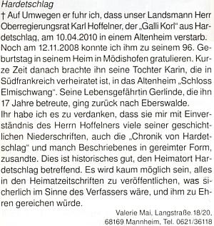 Originál nekrologu, který k jeho skonu napsala Valerie Maiová (foto sourozenců Hoffelnerových viz Agnes Gebicke-Hoffelnerová)