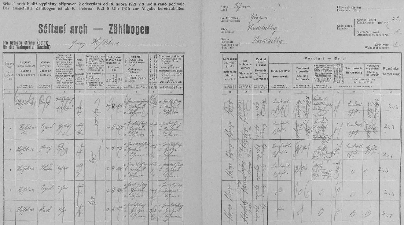 Rodina Hoffelnerova na hartunkovském stavení čp. 35 (Galli) i s jeho jménem na popisném archu sčítání lidu z roku 1921
