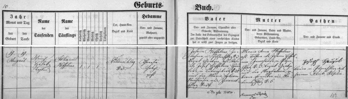 Záznam křestní matriky farní obce Benešov nad Černou o narození jeho otce ve dnes zcela zaniklém Polžově čp. 3 19. srpna roku 1868