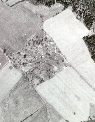 Otcův rodný Polžov na leteckých snímcích z let 1952 a 1967