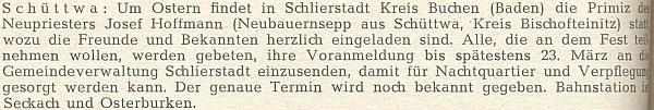 Zpráva o jeho velikonoční primici roklu 1952 ze stránek krajanského časopisu