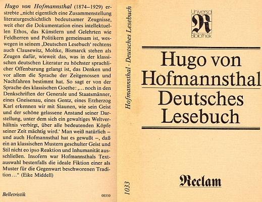 """Obálka (1984) jeho """"německé čítanky"""", antologie německé prózy jednoho století (1750-1850), která vyšla poprvé roku 1926 a obnovené vydání zařadilo roku 1984 ve východním Německu jako č. 1033 do své proslulé """"Universal Bibliothek"""" stejně proslulé nakladatelství Phllipp Reclam jun. v Lipsku"""