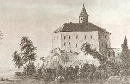 Prostibořský hrad, později zvaný zámek Kopec, ještě s věží zbořenou v roce 1799