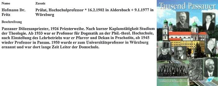 Záznam o Fritzi Hofmannovi z publikace F. Madera Tausend Passauer (1995)