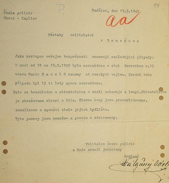 Dokument, ilustrující situaci na Kaplicku po příchodu Rudé armády (Gereuthen byly dnes zaniklé Jitronice)
