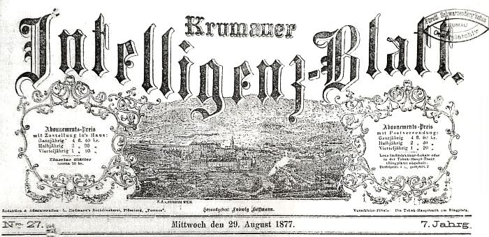 """Záhlaví listu """"Krumauer Intelligenz-Blatt"""" ze srpna roku 1877, kde vyšla jeho zpráva"""