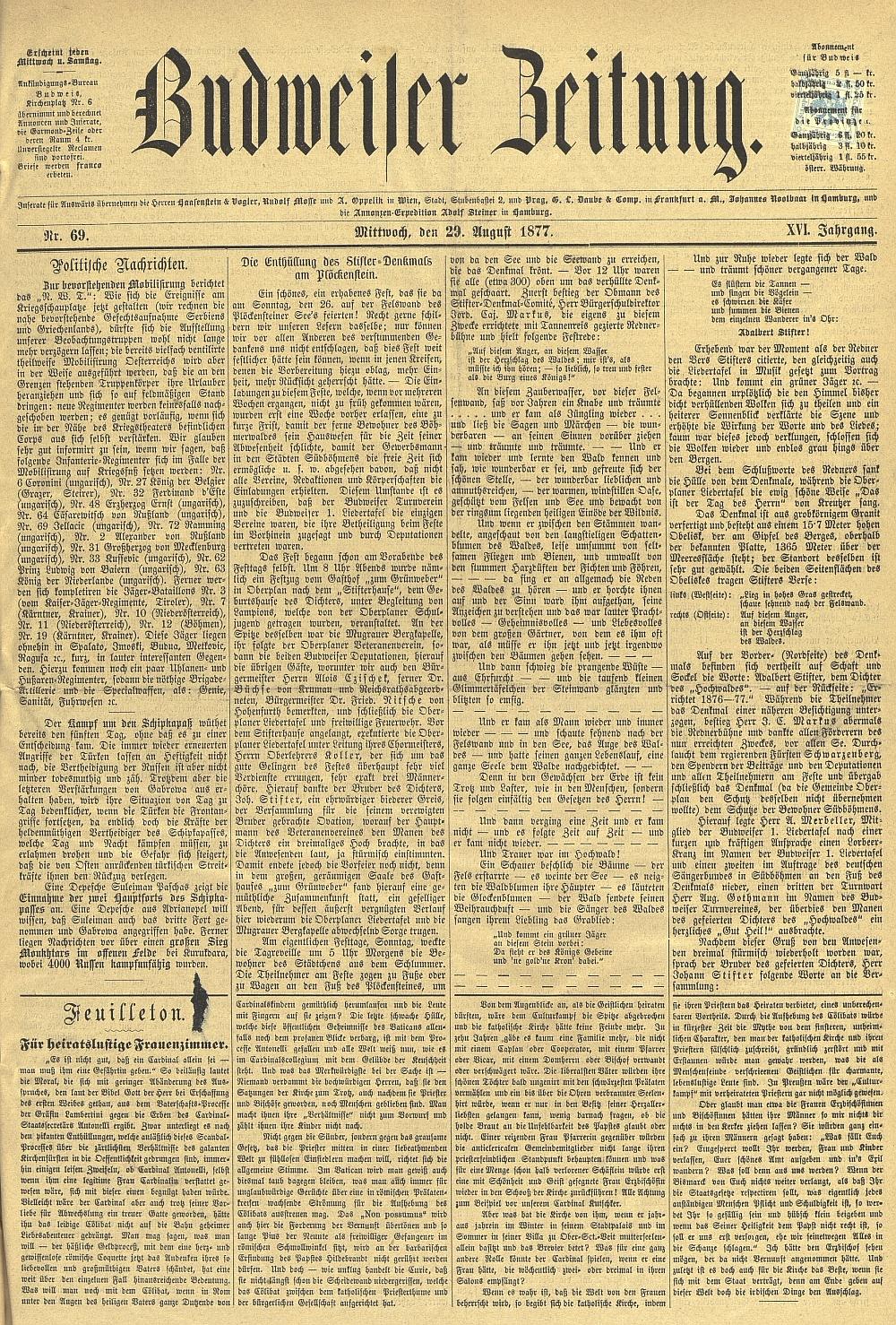 Titulní strana listu Budweiser Zeitung k odhalení památníku se záznamem Markusovy řeči