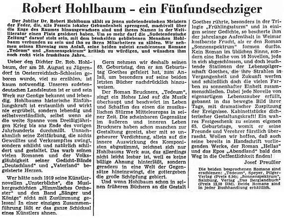 "Článek Josefa Preußlera k Hohlbaumovu životnímu jubileu připomíná i jeho román ""Tedeum"" o Antonu Brucknerovi"