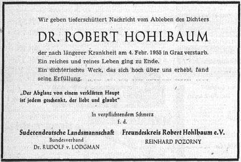 Parte v Sudetendeutsche Zeitung podepsal za ústřední krajanské sdružení Dr. Rudolf Lodgman von Auen, za kruh přátel Reinhard Pozorny