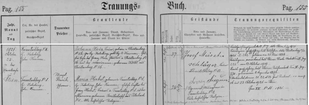 Záznam oddací matriky farní obce Polná na Šumavě o zdejší svatbě Johanna Hoise s Marií Herbstovou