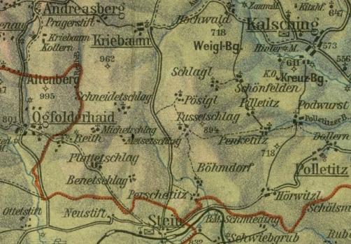 Břevniště na staré mapě