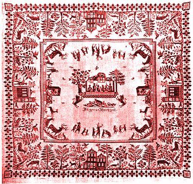 Myslivcova svatba (ubrus s motivem Vítkova Kamene, viz i Josef Bayer)