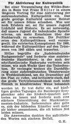 Referát z dubna 1954 v ústředním listě vyhnaných krajanů o jeho přednášce na akci sdružení Witiko-Bund ve spolkovém hlavním městě Bonnu ke kulturní práci vyhnanců