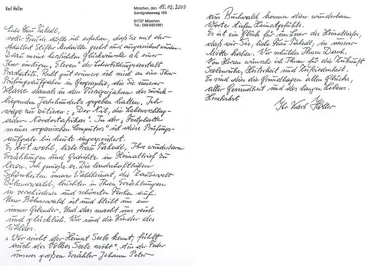 Dopis paní Rose Tahedlové