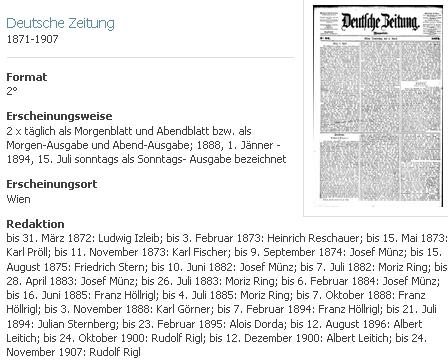 """O """"jeho"""" novinách """"Deutsche Zeitung"""" v databázi Rakouské Národní knihovny"""