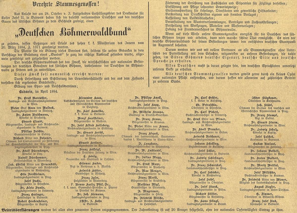 """Takto byl otištěn text výzvy """"ctěným soukmenovcům"""" v českobudějovickém německém listě"""