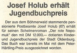 Zpráva (1993) o ocenění jeho knihy Cenou Petera Härtlinga a cenou města Oldenburg za dílo literatury pro mládež