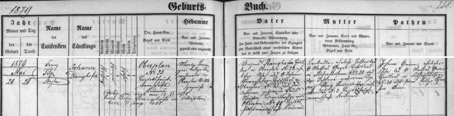 Záznam hornoplánské křestní matriky o narození jejího otce