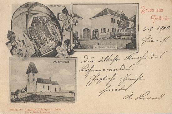 """Na """"složené"""" pohlednici, kterou vlastním nákladem vydal v Boleticích Augustin Holzinger """"starší"""", je zachycen i rodinný hostinec"""