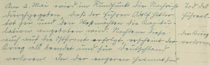 Část jeho zápisu v hodňovské školní kronice