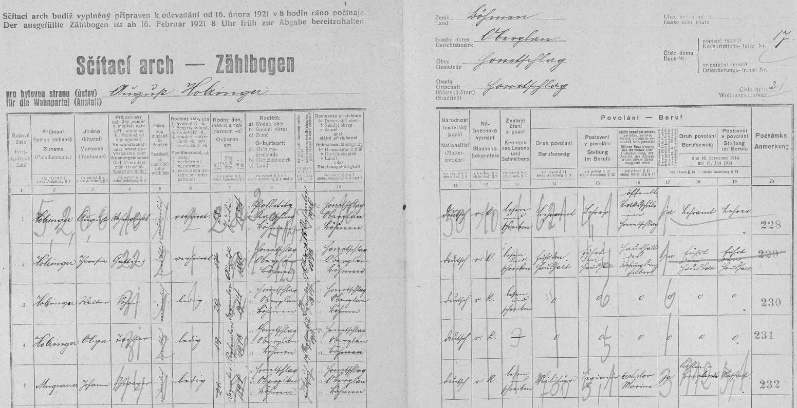 Arch sčítání lidu z roku 1921 pro dům čp. 17 v Hodňově s ním a jeho rodinou