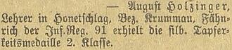 Zpráva v českobudějovickém německém listu o jeho válečném vyznamenání (tehdyvhodnosti praporčíka)