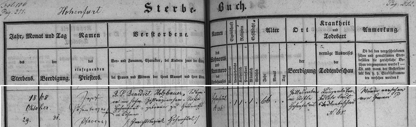 Záznam vyšebrodské úmrtní matriky o jeho skonu