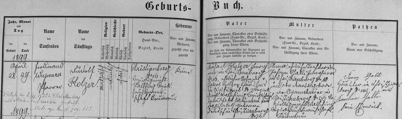 Záznam o jeho narození v křišťanovské matrice