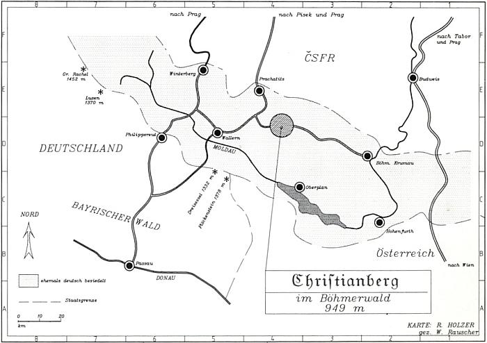 """Jeho mapka s polohou Křišťanova doslova """"vprostřed"""" Šumavy a v nadmořské výšce 949m"""