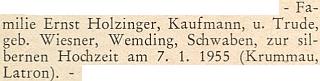 Blahopřání jemu a jeho ženě ke stříbrné svatbě v lednu 1955 na stránkách krajanského měsíčníku