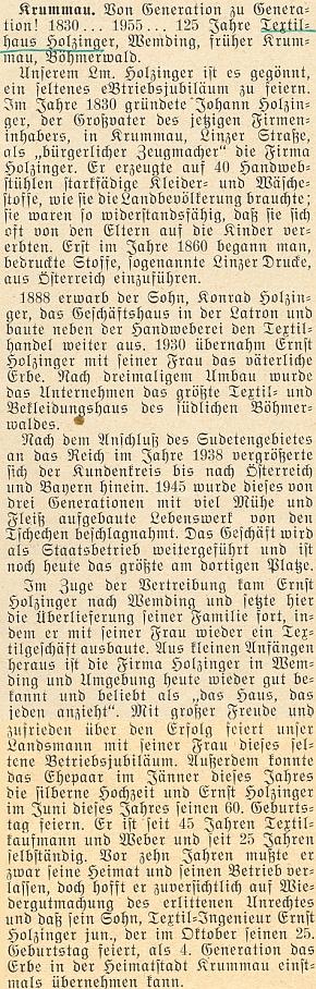 """Článek ke 125. jubileu (1830-1955) Holzingerova """"domu látek"""" ve švábském Wemdingu, původně v Českém Krumlově"""