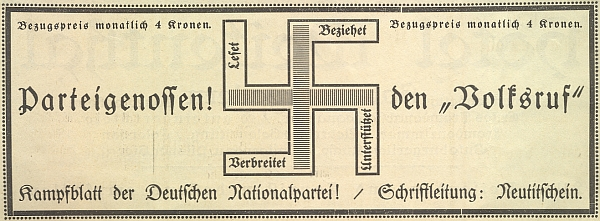 """Ve sborníku k 50. jubileu českokrumlovského Turnsvereinu (1874-1924) do něhož jako """"Bezirksturnwart"""" rovněž přispěl, se v inzertní části objevil tento zlověstný symbol nadcházející německé katastrofy"""