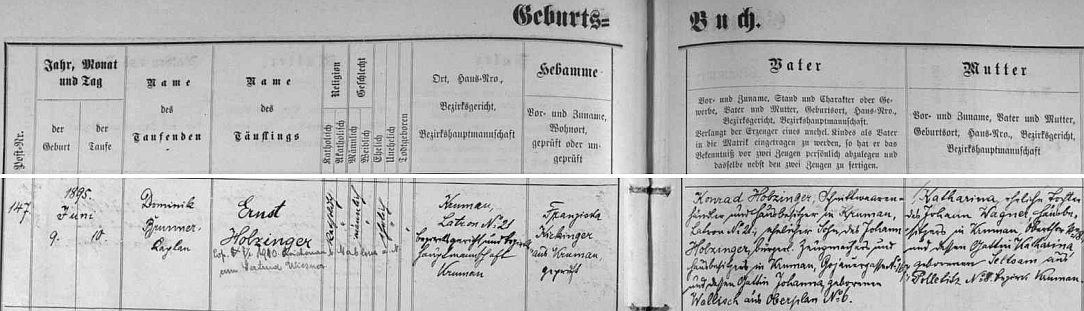 """Narodil se podle záznamu v českokrumlovské matrice na Latráně čp. 21 obchodníkovi """"střižním zbožím"""" Konradu Holzingerovi (babička z otcovy strany, roz. Wallischová, byla z Horní Plané) a jeho ženě Katharině, roz. Wagnerová (babička z její strany, roz. Seltsamová, pocházela z Boletic) - dodatečný přípis pak uvádí i datum svatby Ernsta Holzingera s Gertrud Wiesnerovou v Rychnově u Jablonce nad Nisou"""