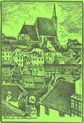 """Do měsíčníku """"Glaube und Heimat"""" Ernst Holzinger poslal i tuto kresbu, jejímž autorem má být švédský malíř Tupi, který na přelomu 19. a 20. století bydlel po několik let vČeském Krumlově"""