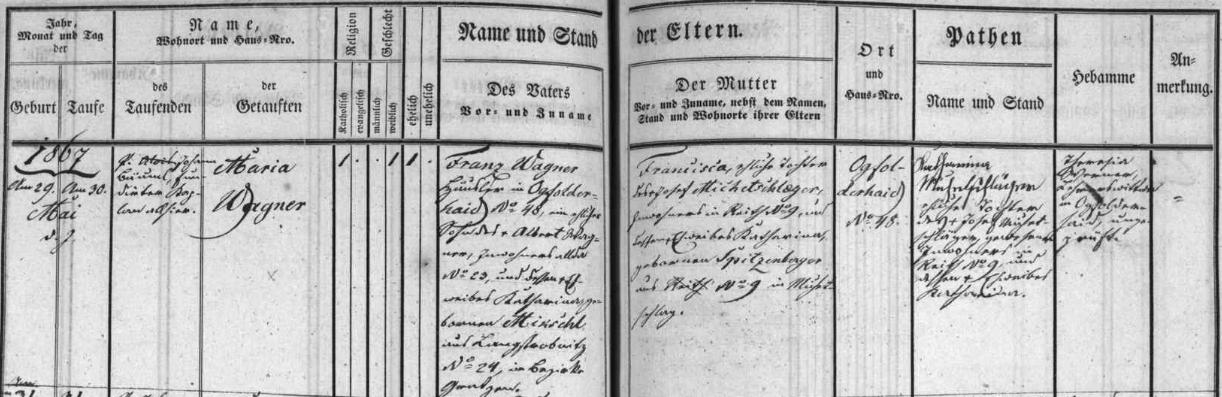 Záznam křestní matriky farní obce Polná na Šumavě o narození jejího děda Wenzla Eßla na Štědrý den roku 1858 vednes zaniklých Dolních Brzoticích (Böhmdorf) i s přípisem o datu jeho úmrtí