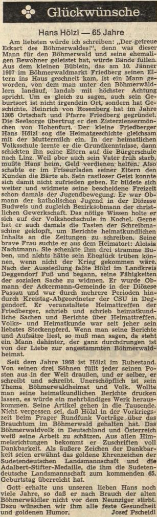 Pozdrav k jeho životnímu jubileu napsal do rakouského krajanského listu JosefPscheidl