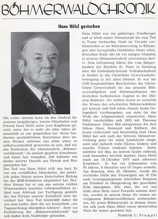 Jeho nekrolog, který na stránkách krajanského měsíčníku zveřejnil Franz C. Stumpfi