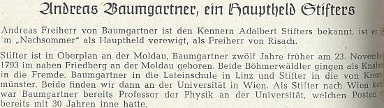 """Úvod jeho článku v krajanském časopise o tom, že Andrease Baumgartnera učinil Stifter hlavním hrdinou svého románu """"Pozdní léto"""""""