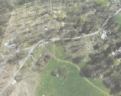 Dva pohledy z dronu na zaniklou Lučinu