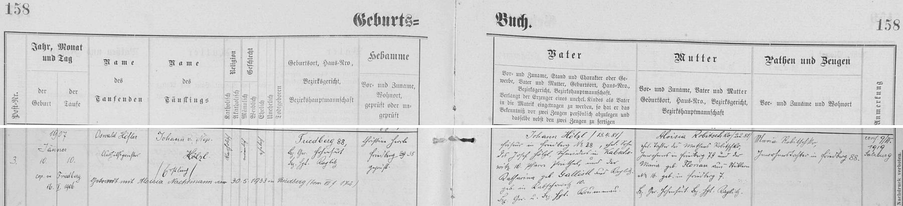 Záznam o jeho narození ve frymburské matrice