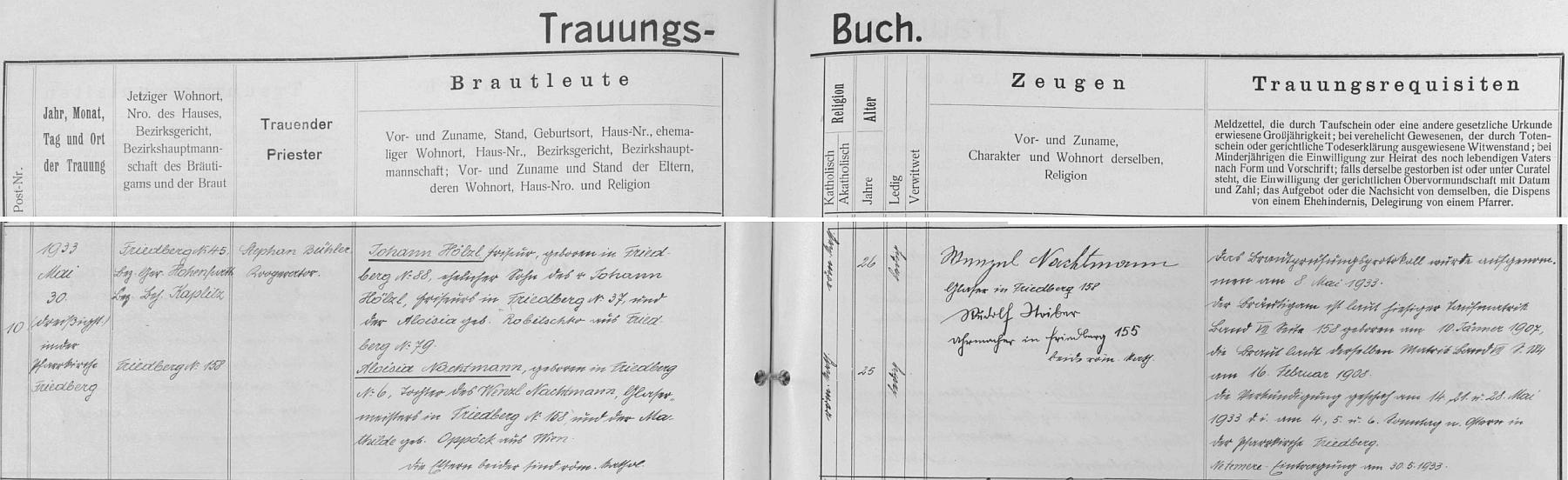 Záznam o svatbě ve frymburské knize oddaných