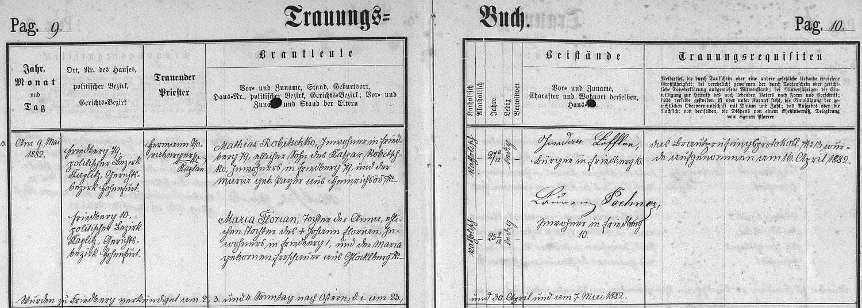 Záznam frymburské oddací matriky o svatbě matčiných rodičů