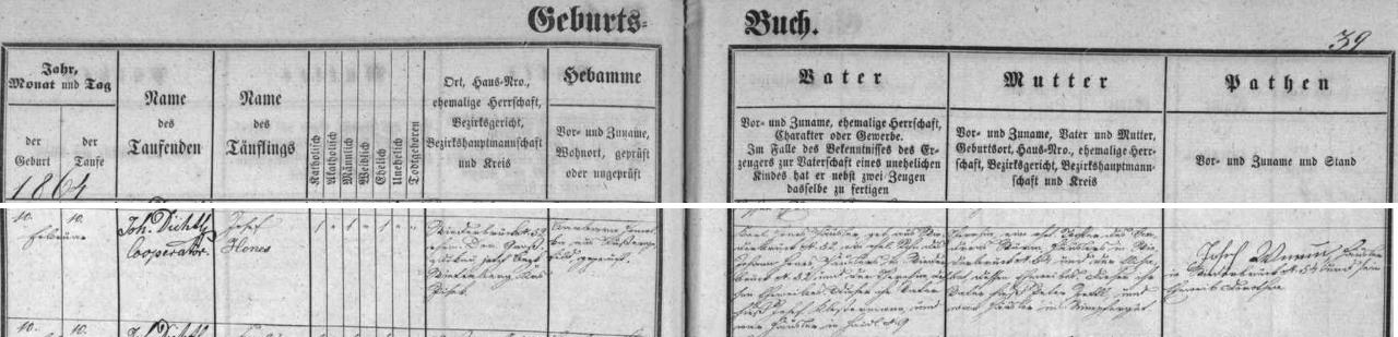 """Záznam o narození a křtu Josefa Honese """"staršího"""" v kvildské matrice"""