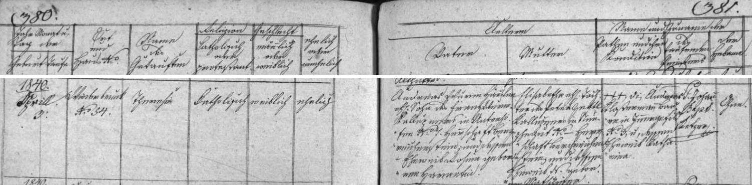 Záznam kvildské křestní matriky o narození její matky, roz. Wurmové, z Kvildy čp. 34 se zřetelným nesouhlasem  data narození 4. dubna roku 1840 s tím, které je uvedeno na archu sčítání lidu z roku 1921