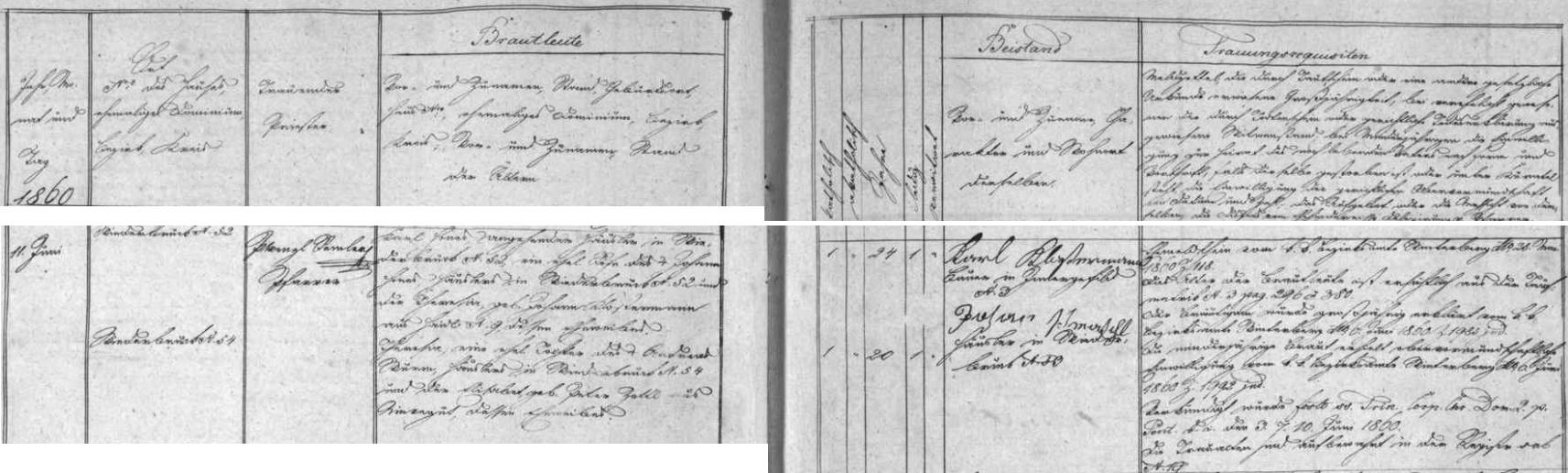 Záznam kvildské oddací matriky o zdejší svatbě jejích rodičů dne 11. června roku 1860