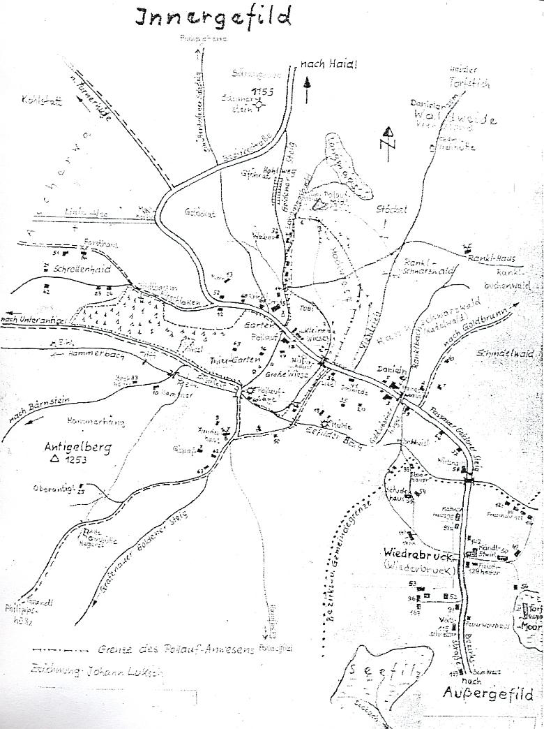 Plánek Horské Kvildy a Vydřího Mostu, náležejícího ovšem až k blízké Kvildě (autorem plánku je Johann Luksch)