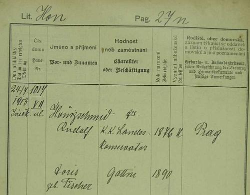 Pražská policejní přihláška i se jménem jeho ženy