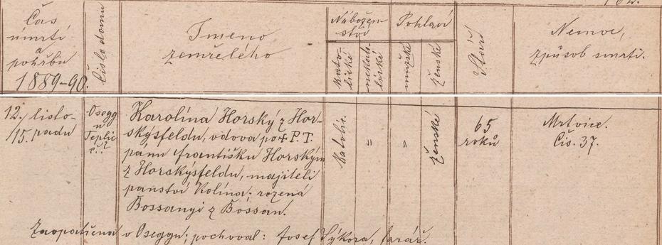 Záznam úmrtní matriky o skonu jeho druhé ženy v Ovčárech